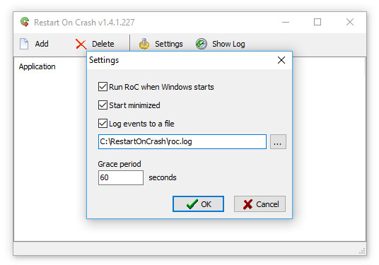Restart-on-Crash-settings-screen