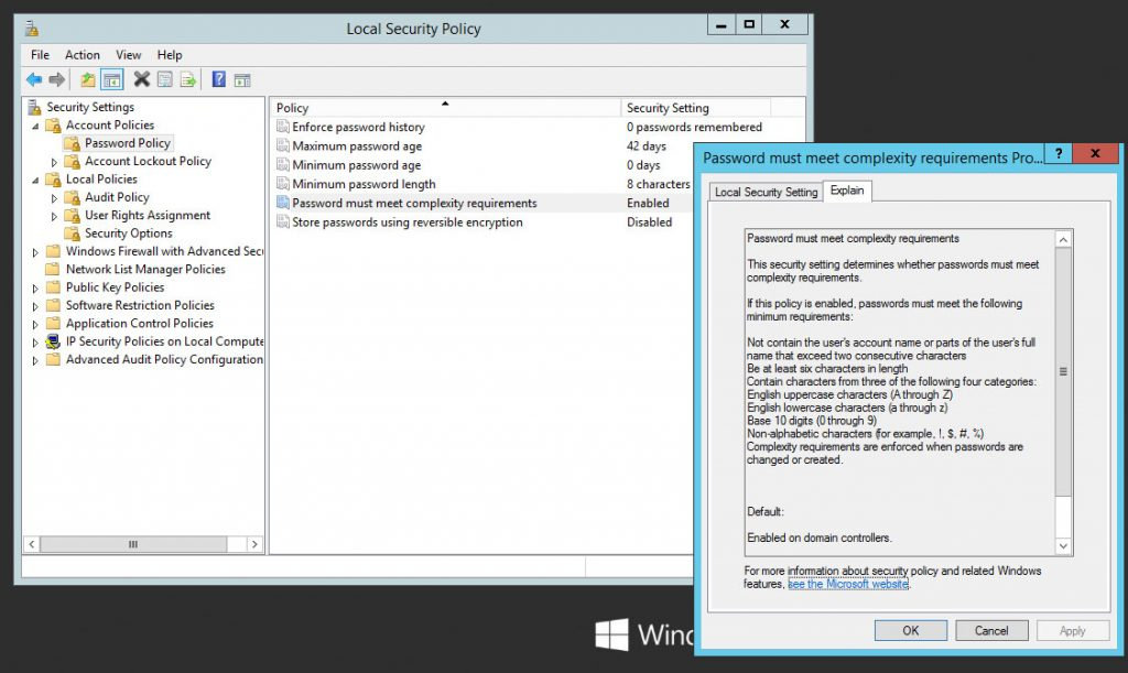 Enable, Disable or Change Password Complexity and Password Minimum Length settings in Windows Server 2012