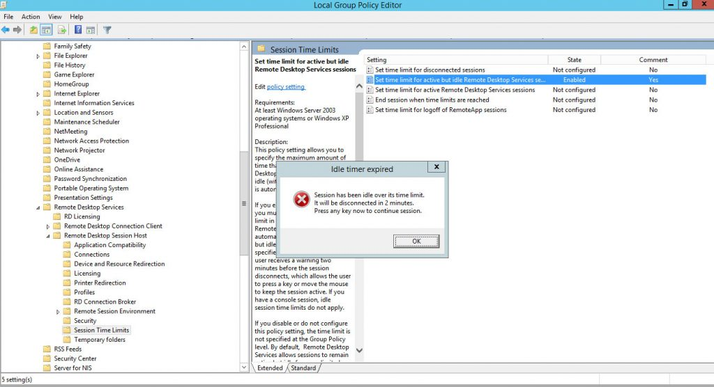 Remote Desktop Session Time Limit - How to set idle Timeout in Windows Server 2012