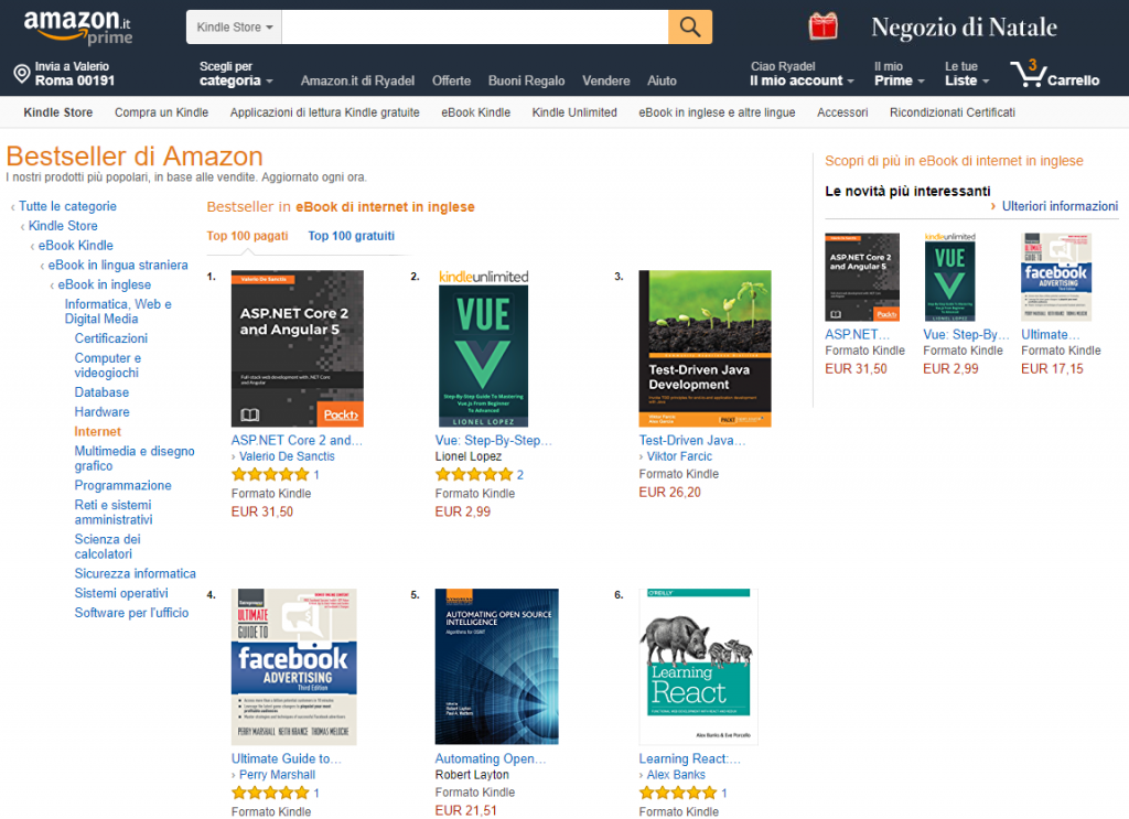ASP.NET Core 2 and Angular 5 first sales data: top-sales charts on Amazon US, UK, IT, FR, DE