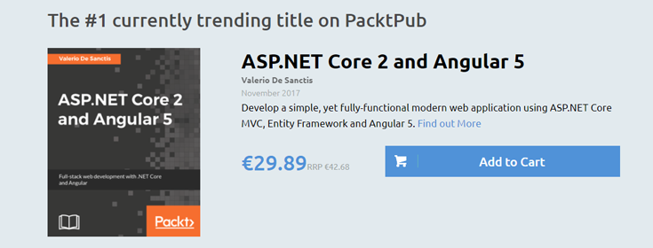 ASP.NET Core 2 and Angular 5 reached Top #1 Trending Book chart on Packt Publishing Web Site!