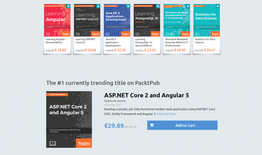 ASP.NET Core 2 and Angular 5: Top #1 Trending Book sul portale web Packt Publishing!