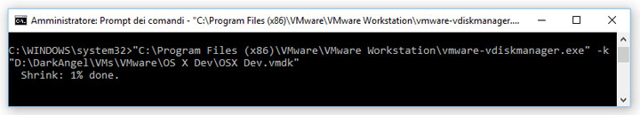 VMware Workstation - Come compattare un file .vmdk (Virtual Mounted Disk) per Mac OS X