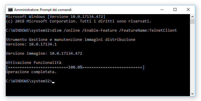 Come installare e attivare Telnet su Windows 10