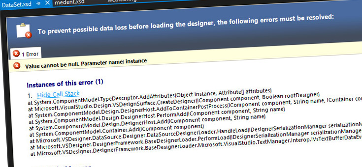Visual Studio - parameter instance with value null (and other design errors) when opening XSD files