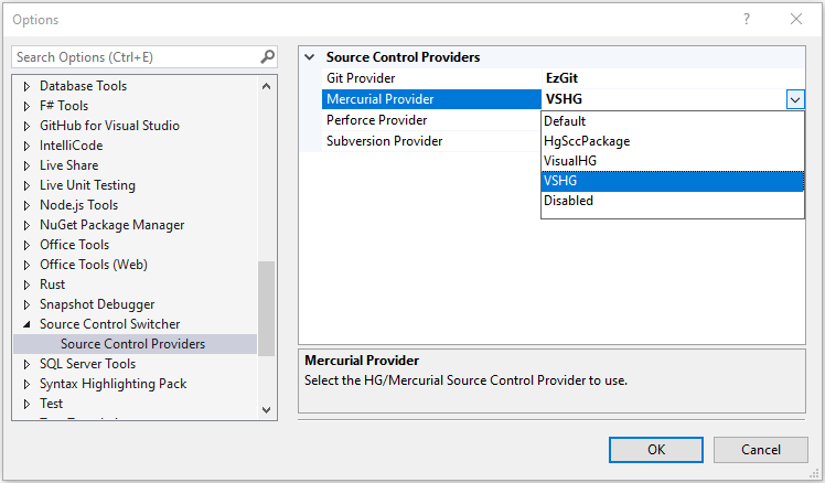 Source Control Switcher - Options Screenshot