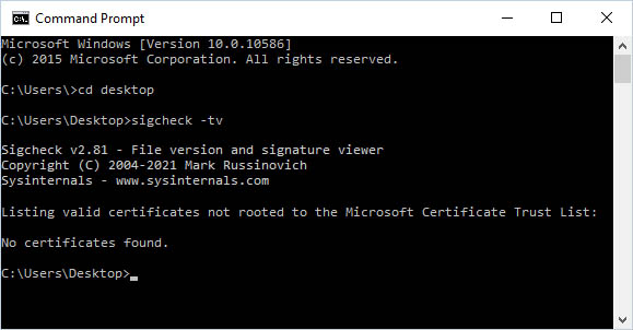 Check for Dangerous Root Certificates on Windows with SigCheck